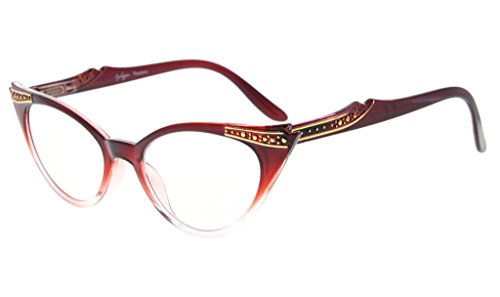 Gris cateyes de Eyekepper gafas 00 mujer Lens para Transparente 0 sol Rojo YxqSZUwSd