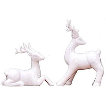 Toonol 2pcs Abstract Art European American White Ceramic Deer Creative Small Decor Ornament (#4)