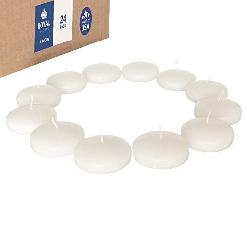Royal Imports Floating disc Candles for Wedding, Birthday, Holiday & Home Decoration, 3 Inch, Ivory Wax, Set of 24