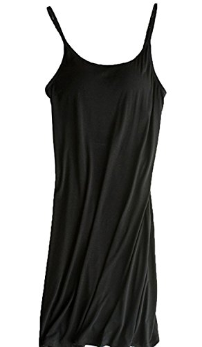 In Bra Built Dress (Womens Modal Built in Bra Camisole Shelf Bra Spaghetti Straps Tank Nightdress Black L / Tag Size 2XL)