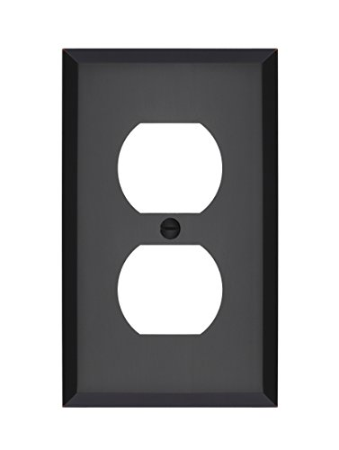 MAYKKE Graham Single Duplex Outlet Cover | Electrical Socket Solid Brass Wall Plate Switch Cover | 5 Color Finishes to Choose From| Oil-Rubbed Bronze, ALA1000104