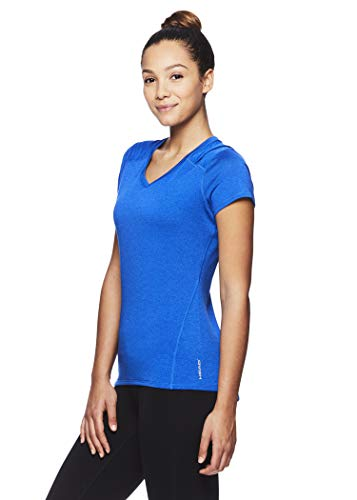 HEAD Women's Brianna Shirred Short Sleeve Workout T-Shirt - Marled Performance Crew Neck Activewear Top - Brianna Nautical Blue Heather, X-Small by HEAD (Image #2)