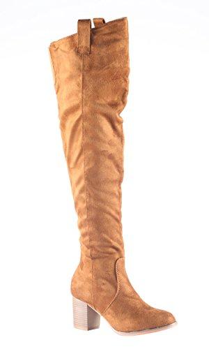 Hadari Womens Fashion Thigh High Over Knee Faux Suede Dress Boot Shoes Fd9tv
