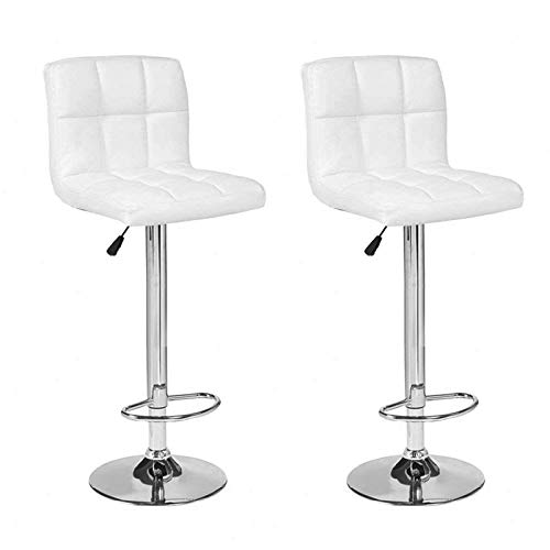 Mecor PU Leather Bar Stools Adjustable Swivel Hydraulic Square Dining Chairs Chrome Base,Set of 2,White - Chrome Dining Room Bar Stool