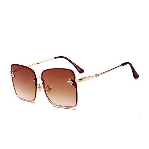 Dekoration C7 Randlose Marke KLXEB Brillen Degradado Biene Quadrat Kleine Gelb Rosa Sonnenbrille C4 Brille Frauen Sommer Lente awwIqzdF