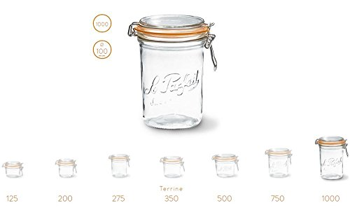 2 Le Parfait Super Terrines - Wide Mouth French Glass Preserving Jars - Zero Waste Packaging (2, 1000ml - 32oz - Quart) by Le Parfait (Image #4)