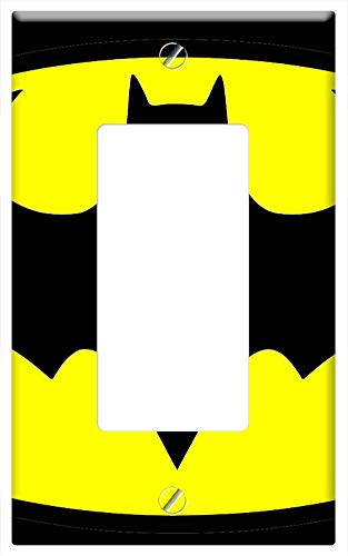 Switch Plate Single Rocker/GFCI - Batman Bat Signal Black Yellow Icon Symbol Sign