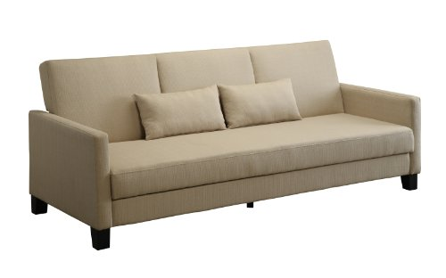 DHP Vienna Sofa Sleeper with 2 Pillows - Chocolate Brown and Tan