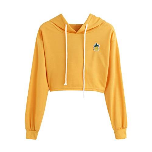 Womens Pineapple Printed Hoodie Plaid Crop Top Pullover Sweatshirt Shirt Blouse Medium Yellow