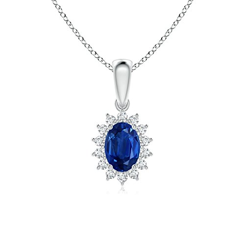 Oval Sapphire Pendant with Floral Diamond Halo in Platinum (7x5mm Blue Sapphire)
