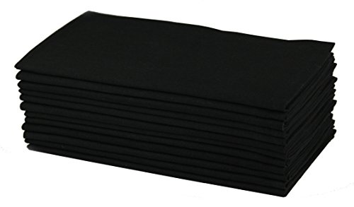Cotton Craft- Dinner Napkins, 12 Pack Oversized Dinner Napkins 20x20 Black, 100% Cotton, Tailored with Mitered Corners and a Generous Hem, Napkins are 38% Larger Than Standard Size Napkins ()