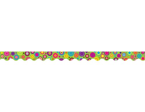 Teacher Created Resources Lime Colorful Circles Scalloped Border Trim (5366)