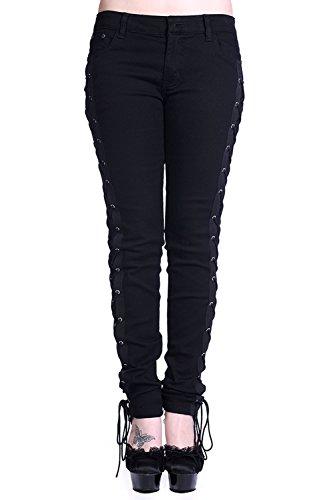 Prohibido corsé Lace up Jeans gótico pantalones negro