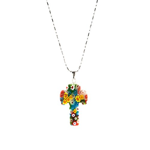 (BlueRica Venetian Murano Glass Cross Pendant with 16 Inches Stainless Steel Chain Necklace)
