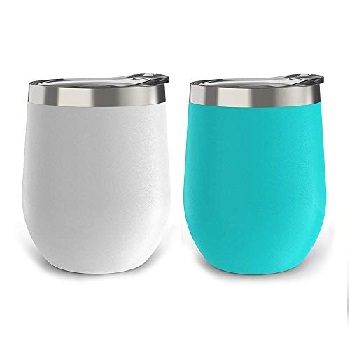 2 Pack 12 oz Wine Tumbler Stainless Steel Tumbler Stemless Wine Glass Double Wall Vacuum Insulated Wine Tumbler with Lids for Wine, Coffee, Drinks, Champagne, Cocktails (Cyan & White) ()