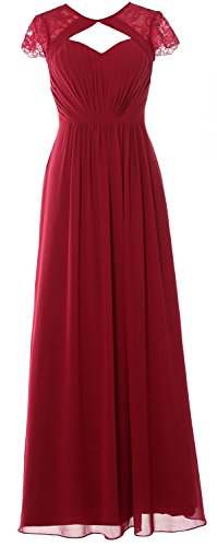 Elegant 2018 Macloth Burgundy Dress Sleeves Bridesmaid Long Gown Formal Evening Cap fx4wqBdwS