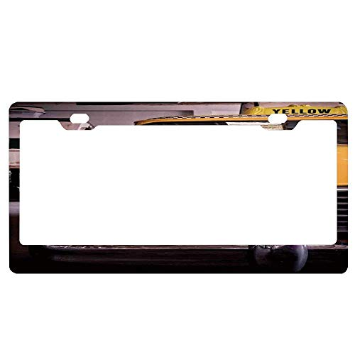 GqutiyulUCOOL NYC Picture of Antique Yellow Taxi License Plate Frames Black, Custom Personalized Aluminum for Auto Cars, Metal Car Front Tag Frame 2 Holes - Antique Nyc