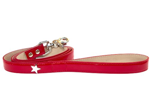 Bluemax Italian Synthetic Patent Dog Leash with Star Stud, 5/8-Inch by 4-Feet, Red (Star Italian)