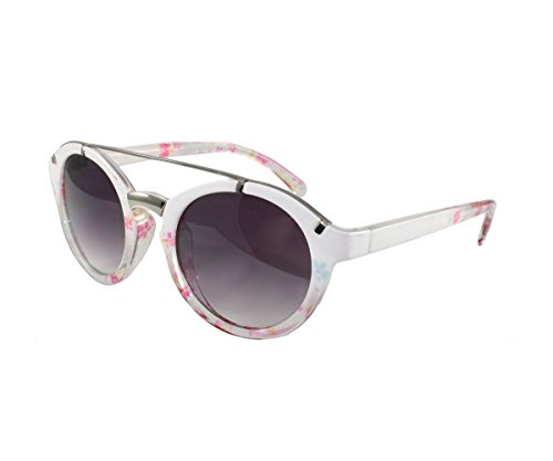 Womens Round White and Floral Brow Bar - Bar With Round Sunglasses Brow