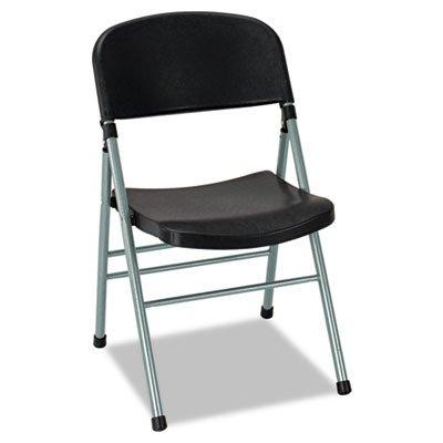Cosco 36869PLB4 Endura Series Molded Folding Chair, Platinum Frame/Black Back/Seat, 4/Carton