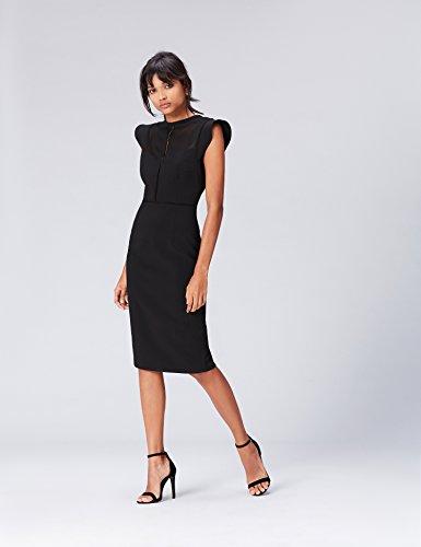 FIND Vestido Elegante por la Rodilla Sin Mangas para Mujer Negro (Black)