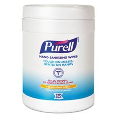 Purell Sanitizing Hand Wipes, 6 x 6 3/4'', White, 270 Wipes/Canister