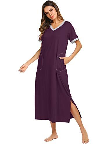 Ekouaer Women's Nightgown Comfy Sleepwear Lounge Dress (Fuchsia, Small) ()