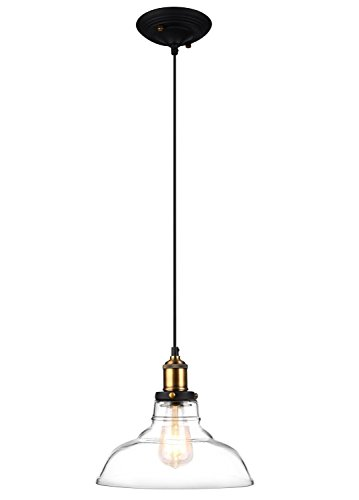 Lightess Glass Pendant Lights Industrial Gold Kitchen Hanging Lights Edison Metal Shade Ceiling Lighting Fixture 1 Light (Brass)