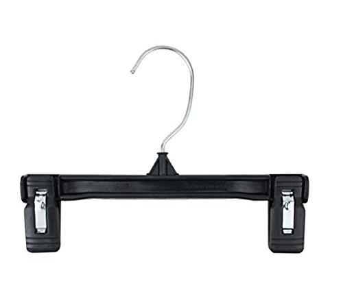 NAHANCO 6008B Plastic Skirt/Slack Hangers, Pinch Grip, 8'', Black (Pack of 200)