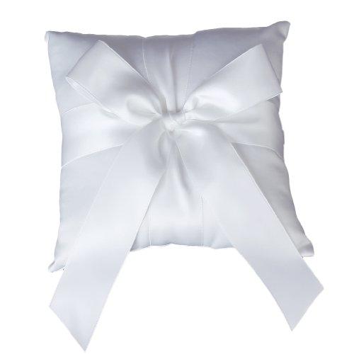 Elegant Satin Big Bowknot Wedding Bridal Ring Bearer Pillow Cushion New -White (As Shown)