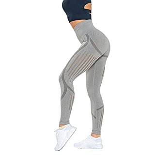 Women's High Waist Seamless Leggings Ankle Yoga Pants Squat Proof Workout Tight Gray