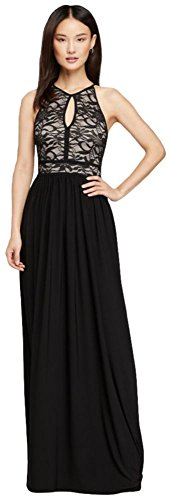 - Lace Keyhole Halter Dress with Jersey Skirt Style 21348, Black, 10