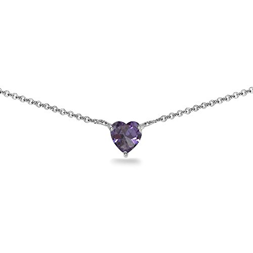 Sterling Silver Simulated Alexandrite 7x7mm Heart Shaped Dainty Choker (Gemstone Alexandrite Necklaces)