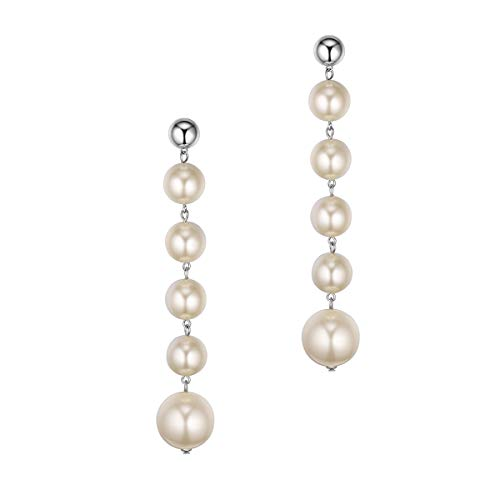 (Long Pearl Dangle Earrings, Women Girls White Gold Plated Fashion 925 Sterling Silver Ear Stud Sparkle Luxury Five Big Round Pearls Drop Earrings-Great Wedding Bridal Gifts for Brides or Bridesmaids )