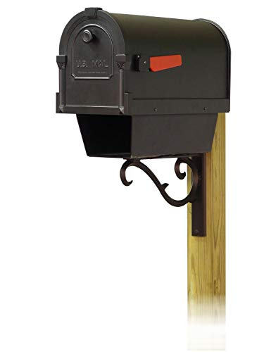 Special Lite Products Company Savannah Curbside Mailbox with Newspaper Tube and Sorrento Front Single Mailbox mounting Bracket (Sorrento Post)