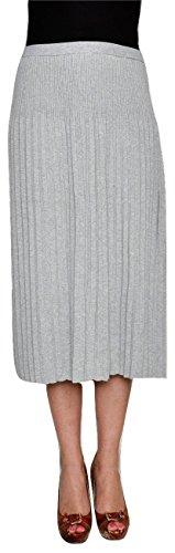 Michael Kors Women's Cotton Blend Jersey Knit Midi Pleated Skirt (Pearl Heather, Medium)