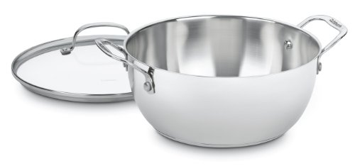 Cuisinart 755-26GD Chef's Classic Stainless 5-1/2-Quart Multi-Purpose Pot with Glass Cover Classic Stainless Single Handle