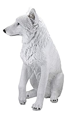 "Ebros Large Artemis Wildlife Sitting Alpha Albino Ghost White Wolf Statue 20.5"" Tall Lifelike Wolves Or Timberwolves Decor Figurine for Rustic Cabin Lodge Animal Totem Spirit Collectible Art Gifts"