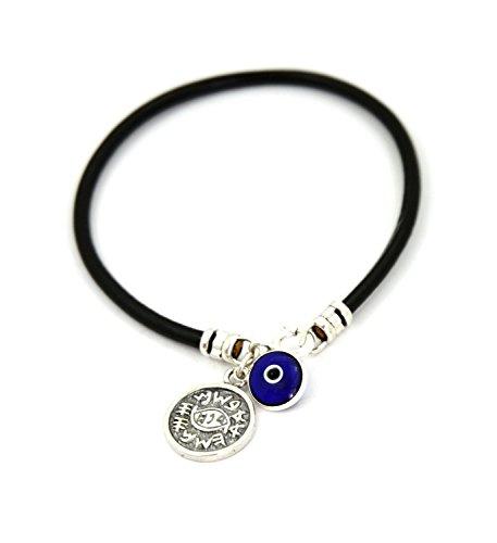 MIZZE Made for Luck Protection Solomon Seal & Blue Evil Eye Charm Bracelet for Women