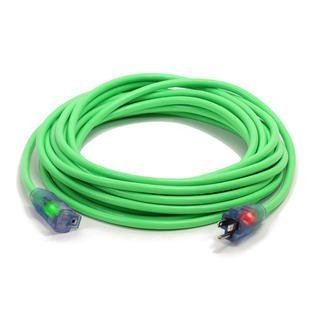 Century Contractor Grade 50 ft 10 Gauge Power Extension Cord 10/3 Plug ,extension cord With Lighted Ends (50 ft 10 Gauge, green)