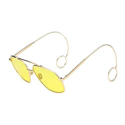 Gafas lisas Elegantes sol fino sol de Hombre metal sol de Marco Personalidad Gafas de de sol Unisex UV Estilo de Unisex para mujeres Elegante Elegante Retro Protección gafas Pendientes Amarillo Delicadas Gafas xAqwKXgH