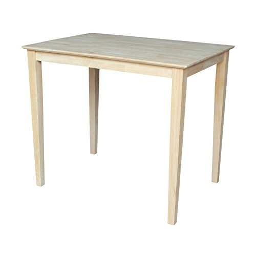 (International Concepts Solid Wood Top Table with Shaker Legs, Counter Height)