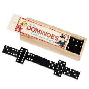 Wooden Box of Dominoes - Vintage Style