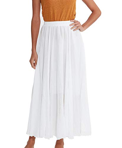 Amazhiyu Women Swing Skirt Mid Length Cotton Linen Flowing Skirt Elastic Waist Boho Style for Autumn Summer (White, ()