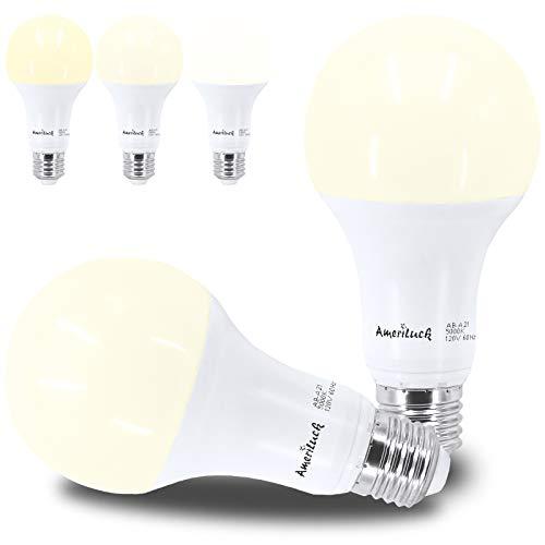 AmeriLuck 3-Way LED Light Bulb A21, 50-100-150W Equivalent, 4000K (Cool White), 500-1600-2100 Lumens, CRI80+, 6-14-20Watt, E26 Medium Screw Base, Omni-Directional, 2 Pack