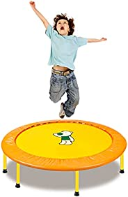 38 Inch Mini Trampoline for Kids Adults Fitness Bounce Jumping Mat Indoor Outdoor (Yellow)