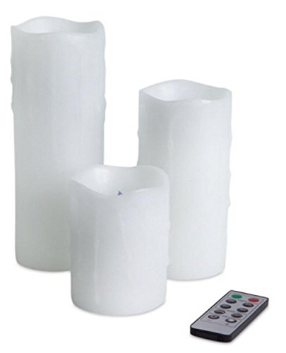 6 White Dripping Remote Controlled Battery-Operated LED Flameless Pillar Candles by Melrose