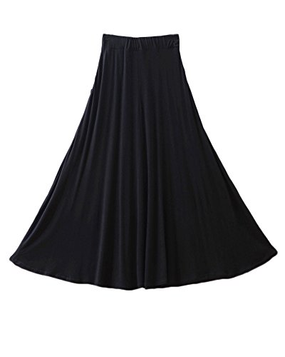 Femme A-Line Midi Jupe Balan?oire vase Plisse en Taille Haute Jupe Basique Confortable avec Poches Noir