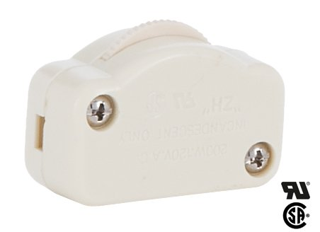 B&P Lamp Ivory Hi-Low Inline Dimmer Switch For 18/2 Spt-1 Lamp Cord