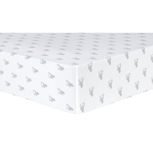 Trend-Lab-Gray-Stag-Silhouettes-Deluxe-Flannel-Fitted-Crib-Sheet